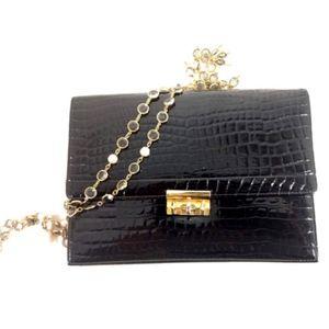 Vintage 1940s  Black Alligator Clutch Bag